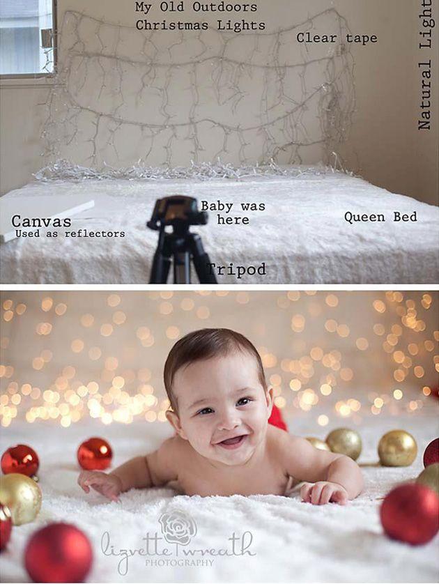 Una cama es el set fotográfico perfecto para una buena foto de navidad  a un niño o bebé