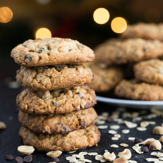 Mega delicious cookies packed with mini chocolate chips, browned butter oats, creamy peanut butter and chopped peanuts.