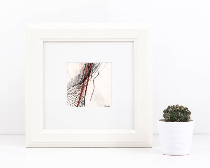 Excited to share the latest addition to my #etsy shop: Abstract pencil drawing, chalk pastel sketch, line drawing, small original art, signed sketch, square abstract art #art #sketch #drawing #abstract