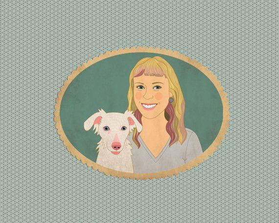 Custom portrait with pet. Custom pet illustration. by lilidiprima