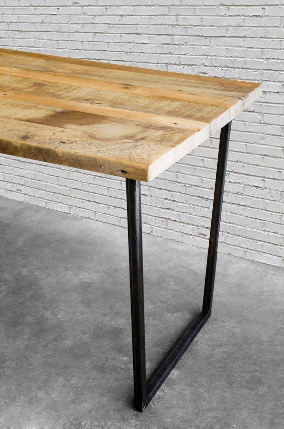 Modern wood desk hand-crafted with steel U shape legs. Many other styles of desks also offered. Custom tables, desks, standing desks , communal