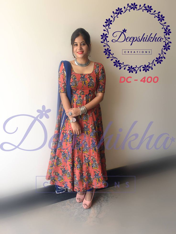 DC 400. Beautiful kalamkari print floor length dress from Deepshikha.For queries kindly whatsapp : +91 9059683293 31 July 2017
