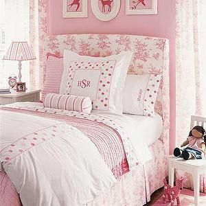 girl's rooms - pink, room, bedroom, girls, pink, headboard, white, chair, pillows, pink room, pink girl room, pink girls room, pink girl bedroom, pink girls bedroom, little girl pink room, little girl pink bedroom, little girls pink room, little girls pink bedroom,
