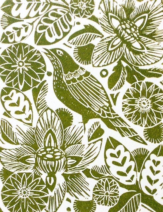 Spring linocut print Amanda Colville - printmaking ; bird ; flower ; leaves
