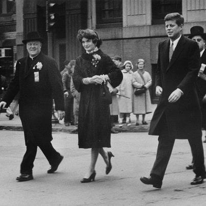We are a little late but we unearthed this fabulous photo of Jackie and Jack Kennedy at a St. Patrick's Day Parade, 1956. LOVE!!!