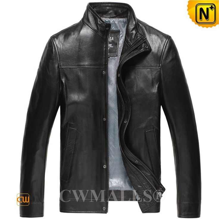 CWMALLS® Mens Leather Biker Jackets CW807018 - Shop slim leather bomber jackets for men, this leather bomber jacket is stylish, cool and comfortable. It is made of genuine lambskin leather, and available in black and brown. It's also suitable to outdoor activities.