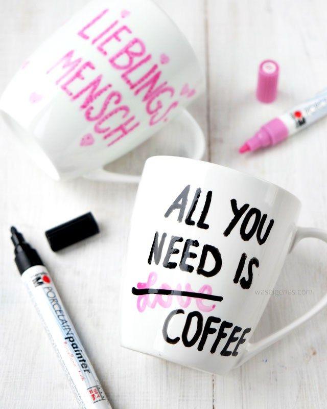 DIY: Tassen mit Porcelain Painter bemalen | All you need is Coffee | Lieblingsmensch | waseigenes.com