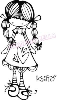 muñeca con trenzas. dibujo