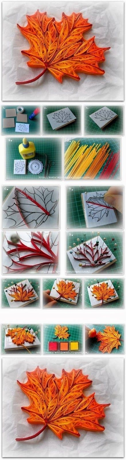 quilling a maple leaf.  This makes me want to try quilling more than anything else I've ever seen.