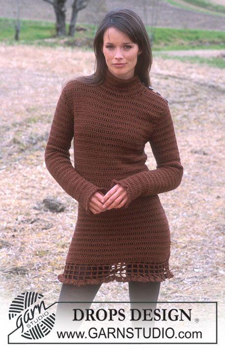 DROPS Crocheted Dress in Karisma Superwash ~ DROPS Design. Free pattern.