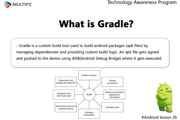 Technology Awareness Program Android Lesson 26: Gradle is an open source build automation system that builds upon the concepts of Apache Ant and Apache Maven and introduces a Groovy-based domain-specific language (DSL) instead of the XML form used by Apache Maven for declaring the project configuration.