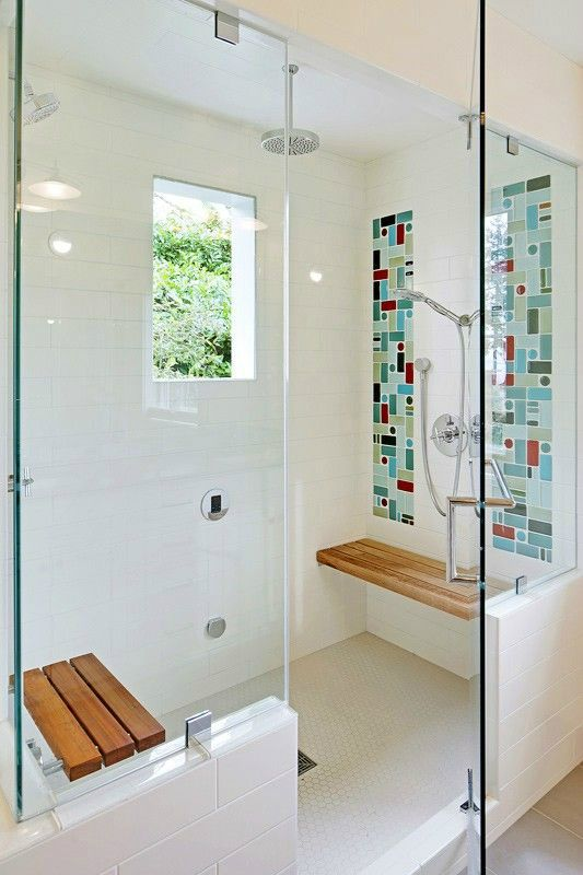 set up of shower and steam room is great, like the window too and the fold down teak step, not loving the colorful tile