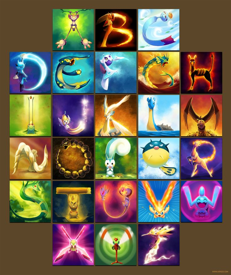 pokemon alphabet! pokemon art, (Ambipom, Blaziken, Chimecho, Dewott, Eelektross, Froslass, Gyarados, Houndoom, Ivysaur, Jirachi, Kyurem, Lapras, Mandibuzz, Ninetales, Onix, Pachirisu, Qwilfish, Rapidash, Serperior, Timburr, Uxie, Victini, Wynaut, Xatu, Yanma, Zapdos)