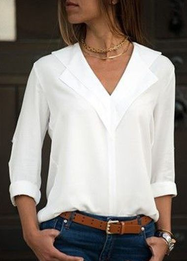 V Neck Long Sleeve White Blouse On Sale Only Us 27 55 Now Buy Cheap