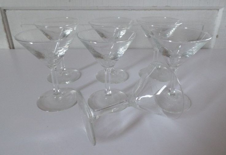 C G Quartex Crystal MID-CENTURY Cocktail  Martini Liquor Glasses Set of 7 #CGQUARTEXCRYSTAL