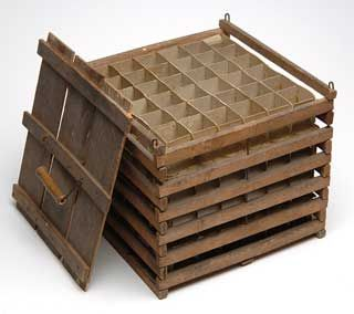 Vintage Wooden Egg Crate. This reminds me of my grandparents. They sold eggs to the local store and this is how they packaged them.