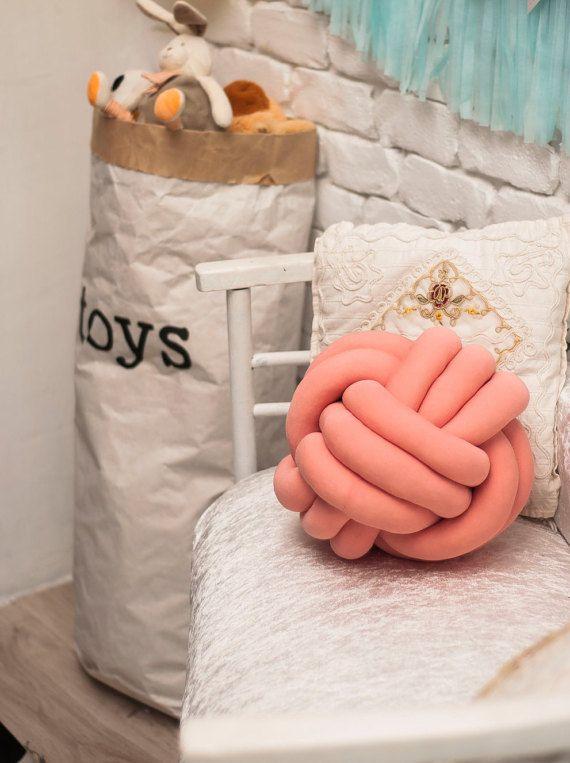 CORAL del nudo almohada, decorativo de la almohadilla, almohadilla de grueso, amortiguador del nudo, almohadilla del sofá, amortiguador, sofá, almohada, nudo decoración casera, almohada anudado