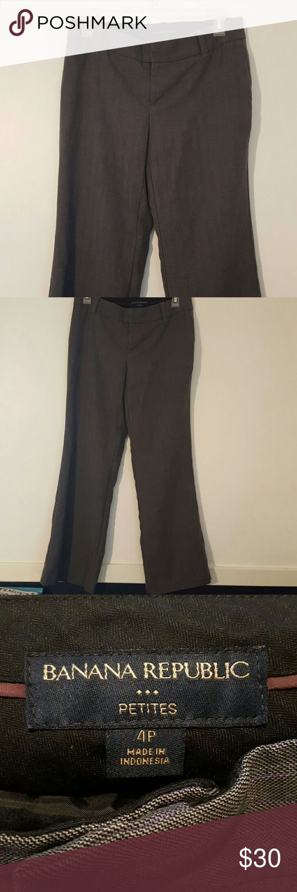Banana Republic Trousers Grey boot cut Trousers with purple striping. Missing top hook (see picture) Banana Republic Pants Trousers