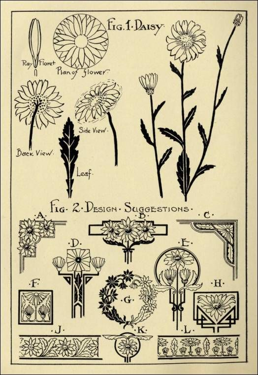 """Daisy Patterns in """"Monumental Drawing and Lettering: The Daisy in Applied Ornament"""" (1926)"""