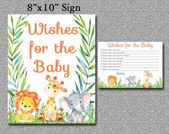 Safari Baby Shower Wishes for Baby Advice Cards , Safari Baby Shower - Jungle Animals Baby Shower, PRINTABLE INSTANT DOWNLOAD 001-A