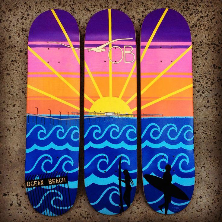 #ForSale - 3 #skateboard #art of the #OBpier ✏️ #Bee #artist #creative #custom #draw #paint #ocean #beach #pier #921OB #sunset #surf #surfer #surfing #seagull #waves