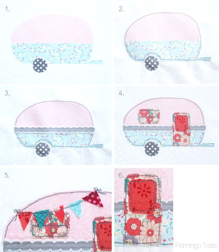 Retro Camper Embroidery Hoop Art  Flamingo Toes