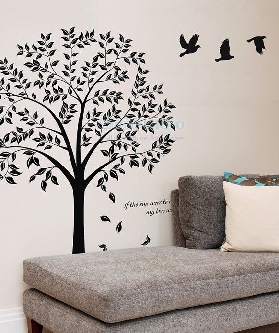 Wall Decals Wall Sticker Nature Wall Decals Beautiful Bodhi Tree With  Flying Birds Part 37