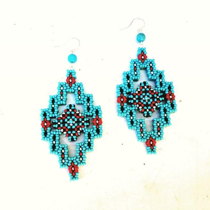 Beaded Diamond: Beaded Turquoise Diamond Earrings By TSOul