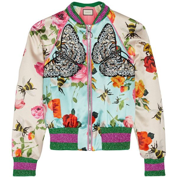 Gucci Appliquéd printed silk-satin bomber jacket ($2,900) ❤ liked on Polyvore featuring outerwear, jackets, bomber, gucci, bomber jacket, sky blue, metallic bomber jacket, cropped bomber jacket, padded bomber jacket and multi colored jacket