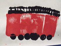 camion de pompier peint à l'éponge