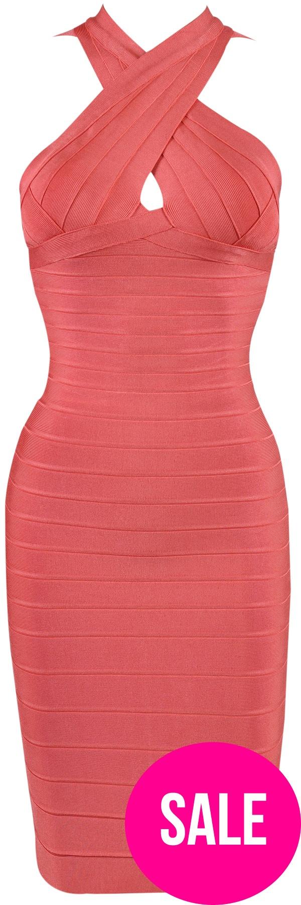 'Vixen' Coral Wrap Halter Bandage Bodycon Dress - SALE