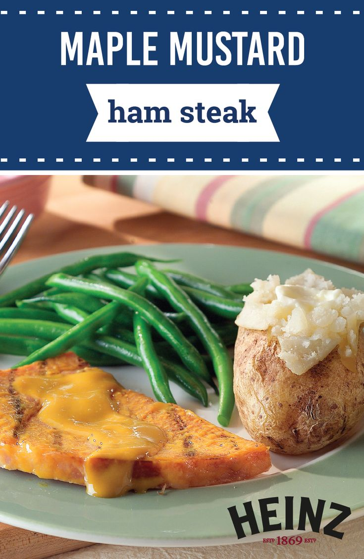 Maple Mustard Ham Steak – Grill a ham steak, baste it, and serve it up with sweet-tangy sauce to create a truly tasty dinnertime dish. This savory recipe is sure to change up your meal planning routine!
