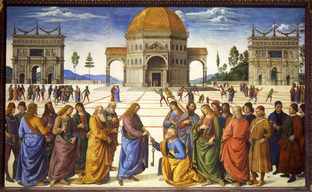 Pietro Perugino, Delivery of the Keys, 1481–1482, Sistine Chapel