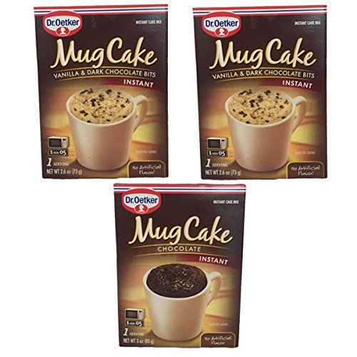 Dr Oetker Instant Mug Cake Mix 3 Pack Bundle  1 Chocolate and 2 Vanilla  Dark Chocolate Bits  Single Serving Microwaveable Treat Snacks -- Find out more about the great product at the image link.