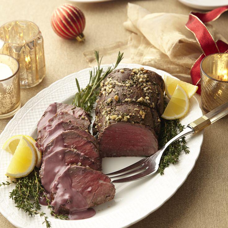 Rosemary Garlic–Rubbed Beef Tenderloin with Red Wine–Rosemary Butter by Giada De Laurentiis | GiadaWeekly.com