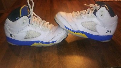 PREOWNED BOYS JORDAN 23 SHOES SIZE 3Y WHITE BLUE YELLOW LANEY BASKETBALL SNEAKER
