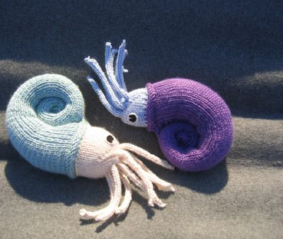 Nautie, a little knitted Nautilus I'm trading a friend for a crochet armadillo :D I've made them before and they're SO FUN!