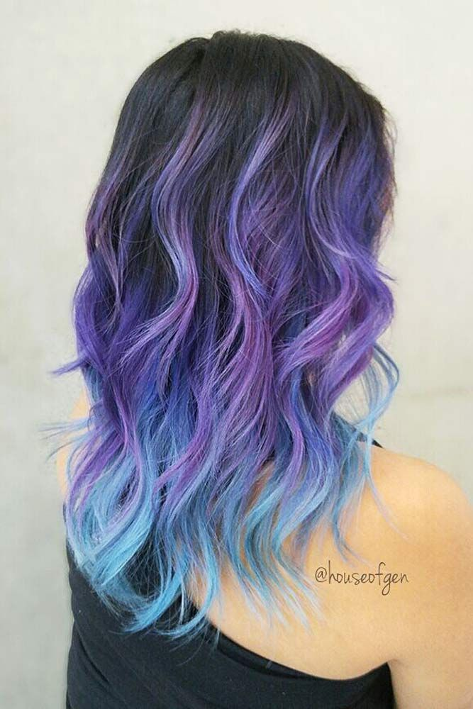 Purple And Blue Ombre Hair Purple Ombre Hair Hair Styles Bright Hair Colors