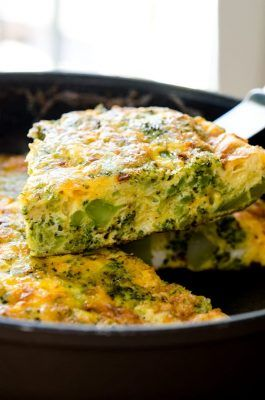 slice of broccoli cheddar frittata straight from the pan