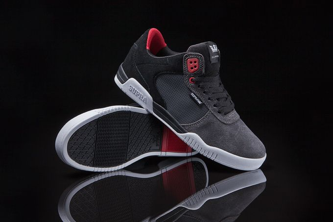 Erik Ellington's high performance signature mid top collection now features this grey and black suede style.