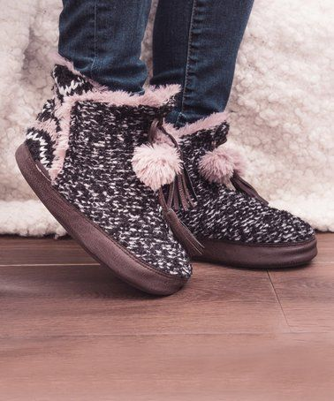 Heritage Collection by MUK LUKS Black Paloma Slipper Bootie