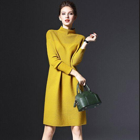 2017 осень и зима новых женщин с длинными рукавами плюс размер свободные трикотажные свитера dress большой размер трикотажные dress зимние женские 5xl купить на AliExpress