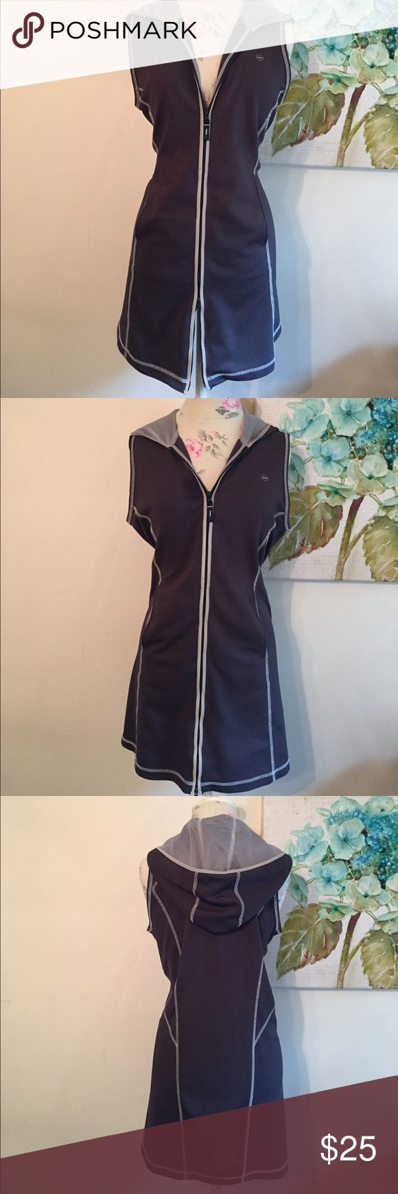 Nautica Athleisure Tunic Dress Blue-gray hooded sport tunic/ dress with reflective trim and decorative stitching. Polyester & Spandex blend. Side slip pockets. Double zipper can open from bottom or top. Sporty chic for the gym, errands or the big game. Great over leggings. Nautica Dresses Midi