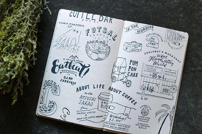 イラストや文字を書くときに参考にしたい手描きグラフィックページもあります。