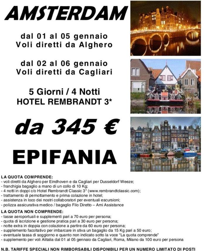 Epifania ad Amsterdam voli da Cagliari e Alghero