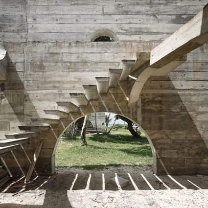 Kristin Green's unfinished Vanuatu resort was captured in an exhibition of photographs by Peter Bennetts during the 2013 National Architecture Conference. In its unfinished state, the resort resembles an unearthed ruin.