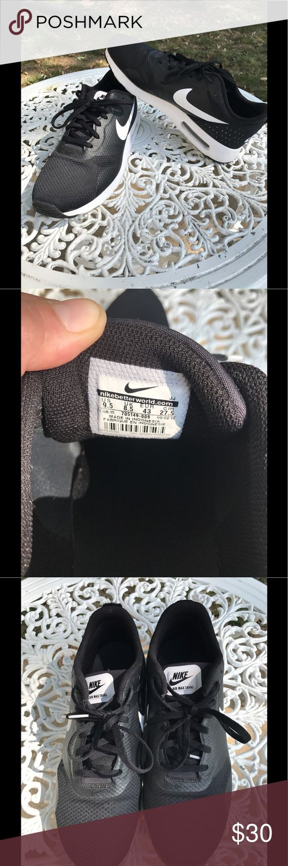 Nike Air Max Tavas Black & White Shoes SIze 9.5 Black & white Nike Air Max Tavas shoes size 9.5. In good shape but the loops on the back of the shoes have been cut off. Only worn for a week or two at most. Nike Shoes Sneakers