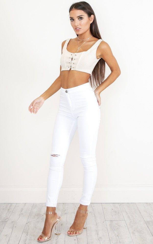 bella skinny jeans in white. showpo. white.