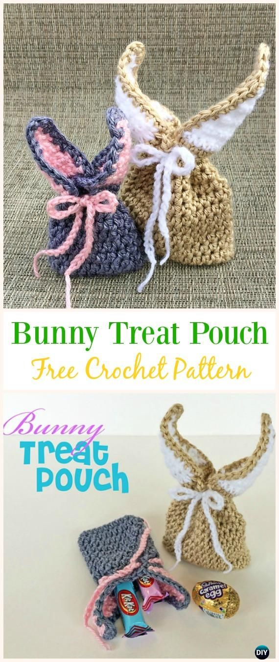 Bunny Treat Pouch Free Crochet Pattern -#Crochet Drawstring #Bags Free Patterns