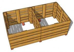Compostbakken met twee afdelingen, obouwtekening m van pallets te maken.